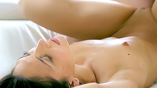 Shaved brunette caress the cock with her mouth before an assfuck