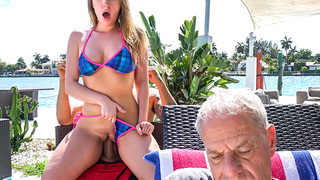 Not only does Harley Jade have one of the biggest asses out there, she's also one of the horniest chicks out there. Harley's grandpa and his neighbor Bruno were hanging out by the BBQ grill when she approached them and began playing with Bruno's jun