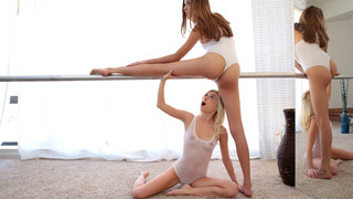 Luscious babes Piper Perri and Kristina Bell are practicing their ballet moves together in sheer leotards. After enjoying the display of flexibility, Piper can't wait to peel off Kristina's clothes so that she can bury her face in her lover's juicy bald p
