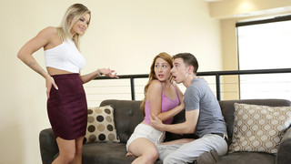 Patrick Delphia and his girlfriend Nina Skye sit on the couch, enraptured in their makeout session. Patrick has just started groping Nina's tits when his stepmom Jessa Rhodes walks in. She greets Patrick's new lady friend and then leaves. As Nina comments