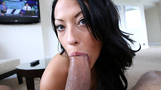 Sexy ass young hot lingerie model Kelly Diamond gets facialized after sucking a hulky big cock