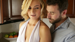 Kate England may be doing the dishes, but her mind is on something a whole lot hotter. When James Deen joins her at the sink and starts dropping kisses on the back of her neck, Kate is instantly putty in his hands. Her short miniskirt rides up at James's