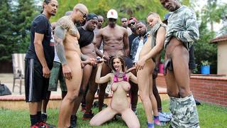 Dogfart pool parties...you gotta love em! Last one featured Casey Calvert taking 11 hung bulls directly in the shit pipe. Today,Stella Cox shows up for her pool party,and once in the suit she brought along,our crew of Black Bulls sends her back to change