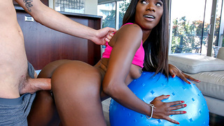Ebony hottie Ana Foxxx calls in her trainer for a quick workout. She stretches out in various ways while showing off her sexy body. She gets scared when she felt Dylan's hard on but quickly she starts playing with it. We see her giving his cock great su