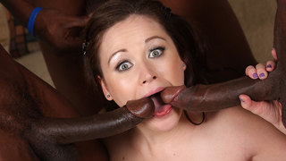 Sindee is just like every white babe...bored,looking for some fun and thrills. What she would really like to have is her fill of black dick,3 big ones ought to fill the bill! To prepare her pink tight pussy for this boner overload,she starts out the scene