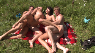 Two hot chicks sunbathing on a green glade had no idea about two horny guys spying on them from the bushes. The young perverts couldn't resist the temptation to try and hit on these sexy forest nymphs and ended up fucking them both right on the ground. Th