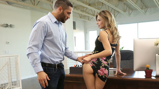 There have been rumors that secretary Jillian Janson is fucking her boss Damon Dice, and they're all absolutely correct. The flirty blonde can't stop thinking of Damon's hot body, especially when he sends her naughty texts. It's no surprise when he walks