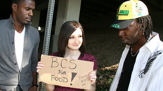 Violet is hungry,but not necessarily for food,shes hungry for black cock,and the jizz that they spew! Shes out along the street with her BCS for food sign,and isnt getting any response from the cars passing by. Two black dudes from the hood drop by and tr