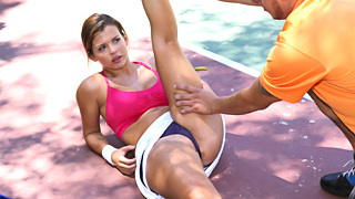 Beauteous sexy spoiled brat chick Keisha Grey gets banged by her tennis trainor after doing a intensive training workout