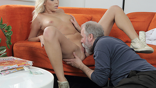 Lucky old man warms his dick inside a young pussy. He penetrates a cutie from behind and gives her a lot of fantastic moments on the couch.