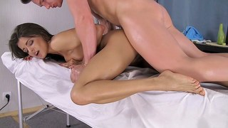 Delicious cute brunette gets slammed during massage