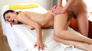 Young delicate sexy hot girl Sleevie lays down on a nice massage bed and gets a decent fuck from her male spa therapist