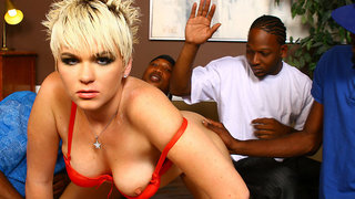 This hot gangbang scene starts off with Tone sliding his black torpedo inside the juicy pussy of punky-looking blonde Claudia Downs,and when shes loving every inch of it,and starts purring like a contented kitty,he lets it slip that he might have invited