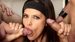Sexy Latina babe with nice tits gets double penetrated and banged hard by cocks