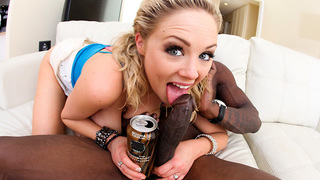 Katie Kox is the essential blonde bombshell. You take one look at her and your spank bank will go in to overload! We hook Katie up with Wesley Pipes. Hes a vet at the Monster game. Can Katie, The Beautiful, slim, giant titted, blond bombshell, take a mons