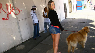 HOTTIE ALERT!!! What do we have here? A gorgeous 19 year old babe is out walking her dog when she strolls by two black dudes discussing whether they like the pussy or the asshole as their preferred port for docking their longboats. One guy prefers the jui