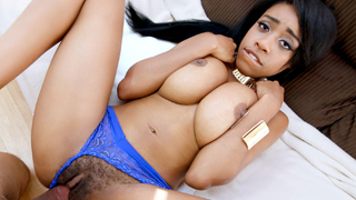 Eye catching sexy hot ebony chick Brittney White takes a big white mean cock on her tight hairy poontang after doing a short interview.