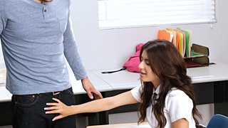 Stunning sexy teen schoolgirl Ava Mendes gets fucked in many different positions by her horny classmate in exchange for some tutorial lessons