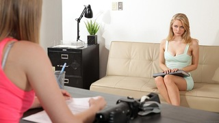 Super sweet Summer Carter wants to try her hand at Nubiles casting, and her first interviewee is the sexy Alli Rae. The blonde hottie is a Texas coed with a fabulous body that she slowly strips to put on display amidst many giggles and smiles. Soon Summer