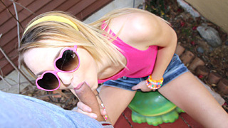 Small adventurous blonde cutie Carmen Callaway gets jizzed all over her ass after her boyfriend fucked her wet shaved pussy on a neighbors backyard